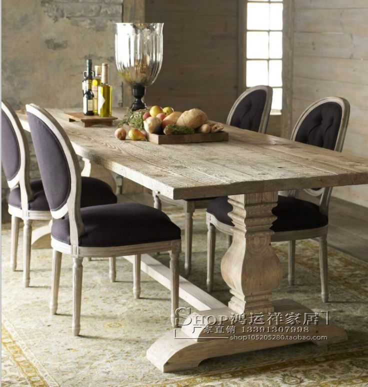 American country to do the old wood dinette French elegance vintage white dining table negotiating table meeting of European dinette - Taobao
