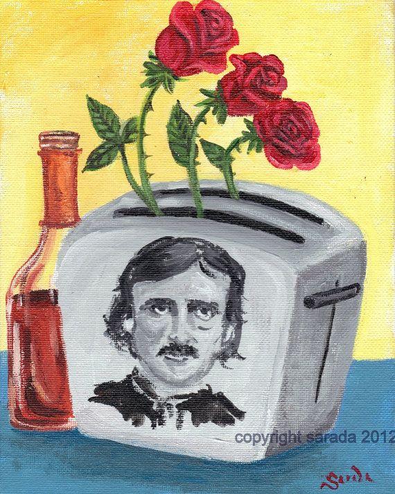 Poe Toaster gothic literary humor art 8 x 10 print by ArtBySarada