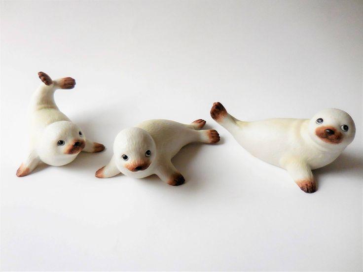 Homco sea lions, Home Interior, collectible seals, sea life decor, beach decor, three sea lions, collectible porcelain, made in Sri Lanka. by AJewelOfACraft on Etsy