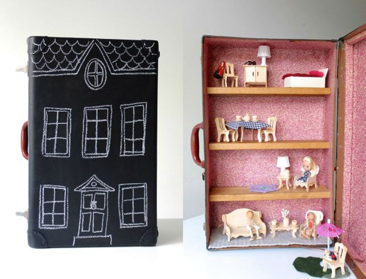 "This portable dollhouse has a chalkboard paint exterior and wooden shelving within to form different ""rooms"" that can be filled with your kid's favorite dollhouse furniture."