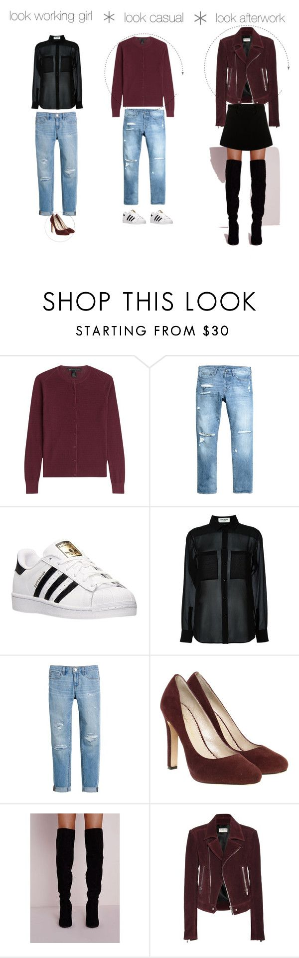 """Sin título #35"" by luisamariafranco on Polyvore featuring moda, Marc by Marc Jacobs, H&M, adidas, Yves Saint Laurent, White House Black Market, Jean-Michel Cazabat, Balenciaga y Paul & Joe"