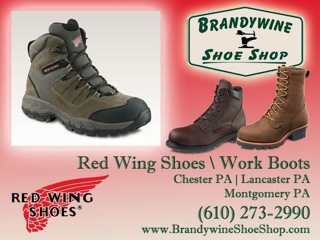 http://www.brandywineshoeshop.com/shoes_repair.html Do you need to wear steel toed work boots for your job?  Brandywine Shoe Shop is the first place to shop when looking for a good work boot.  We carry name brands including Red Wing Shoes.  Located in Chester County PA, we also offer shoe repair service and keep lots of shoe accessories and cleaning supplies in stock.  Reaching out to Lancaster PA and Montgomery PA also.  Call us at (610) 273-2990…