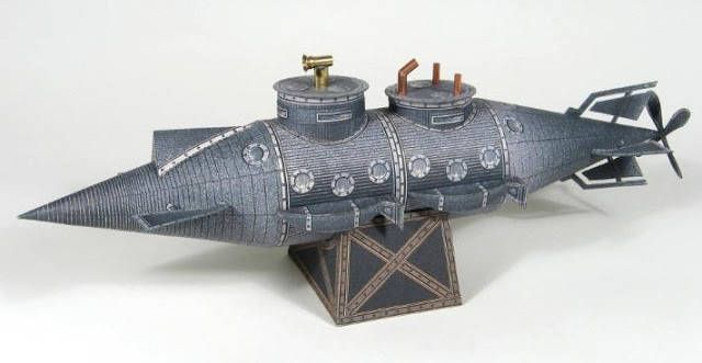 French Vintage Submarine Free Paper Model Download - http://www.papercraftsquare.com/french-vintage-submarine-free-paper-model-download.html#Submarine, #Vintage
