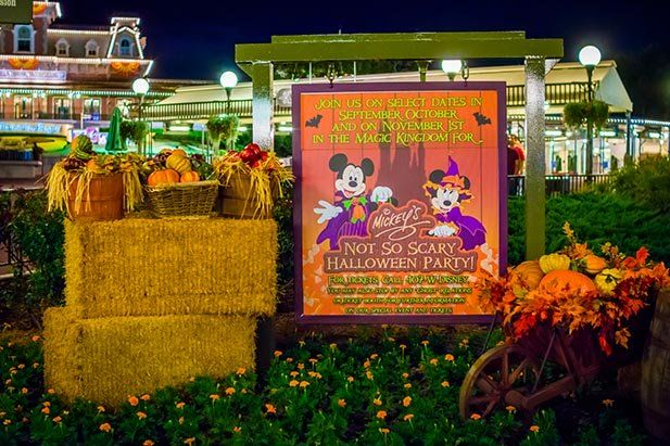 The sign to Mickey's Not So Scary Halloween Party