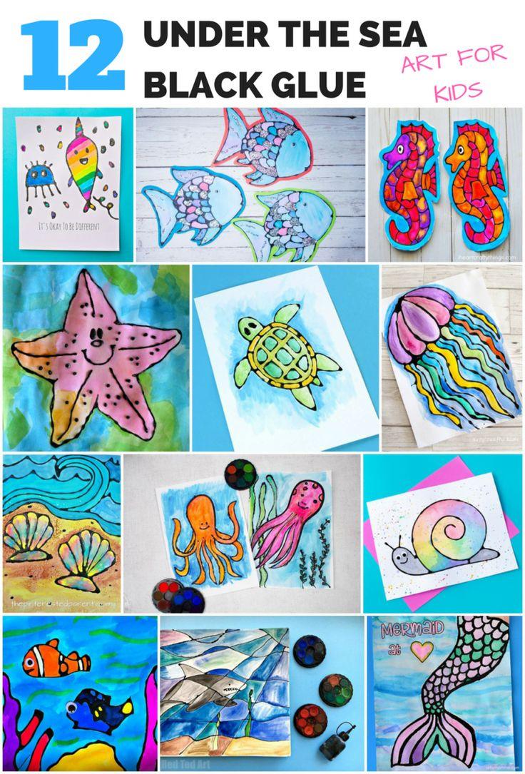 Malvorlagen kirschen pictures to pin on pinterest - Black Glue Under The Sea Ocean Arts And Crafts For Kids
