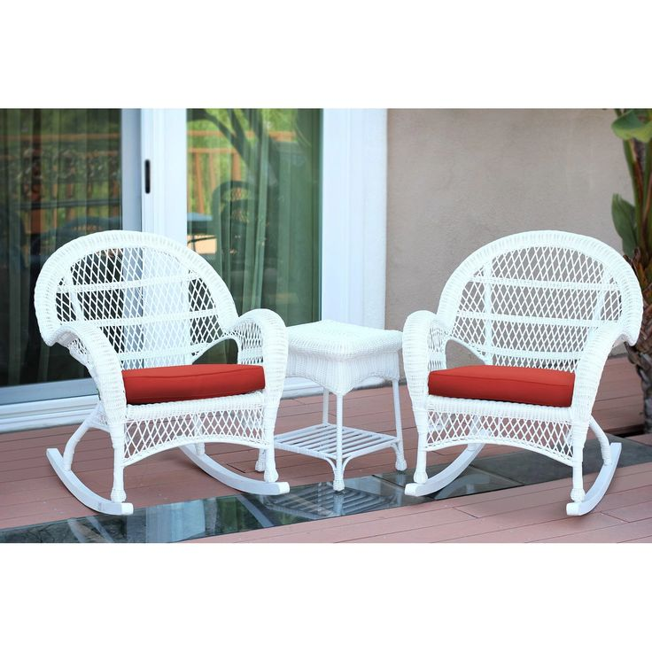 Jeco Santa Maria 3 Piece Wicker Rocker Chat Set With