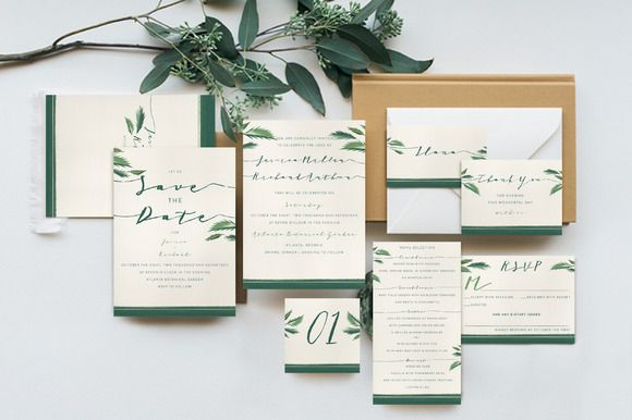 Classy Tropical Wedding Invitation by KlapauciusCo on