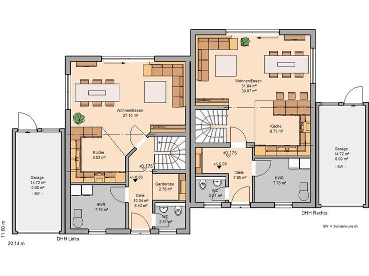 h user grundriss doppelhaus pinterest doppelhaush lfte kern haus und erdgeschoss. Black Bedroom Furniture Sets. Home Design Ideas