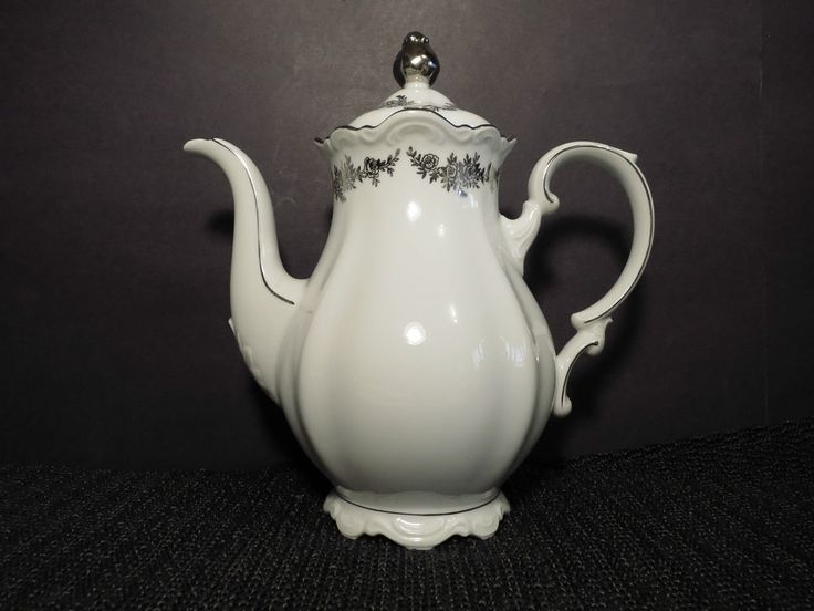 BKI Belkraft Tettau Bavaria Germany Vintage Bouquet White Porcelain Coffee Pot : dinnerware made in germany - pezcame.com