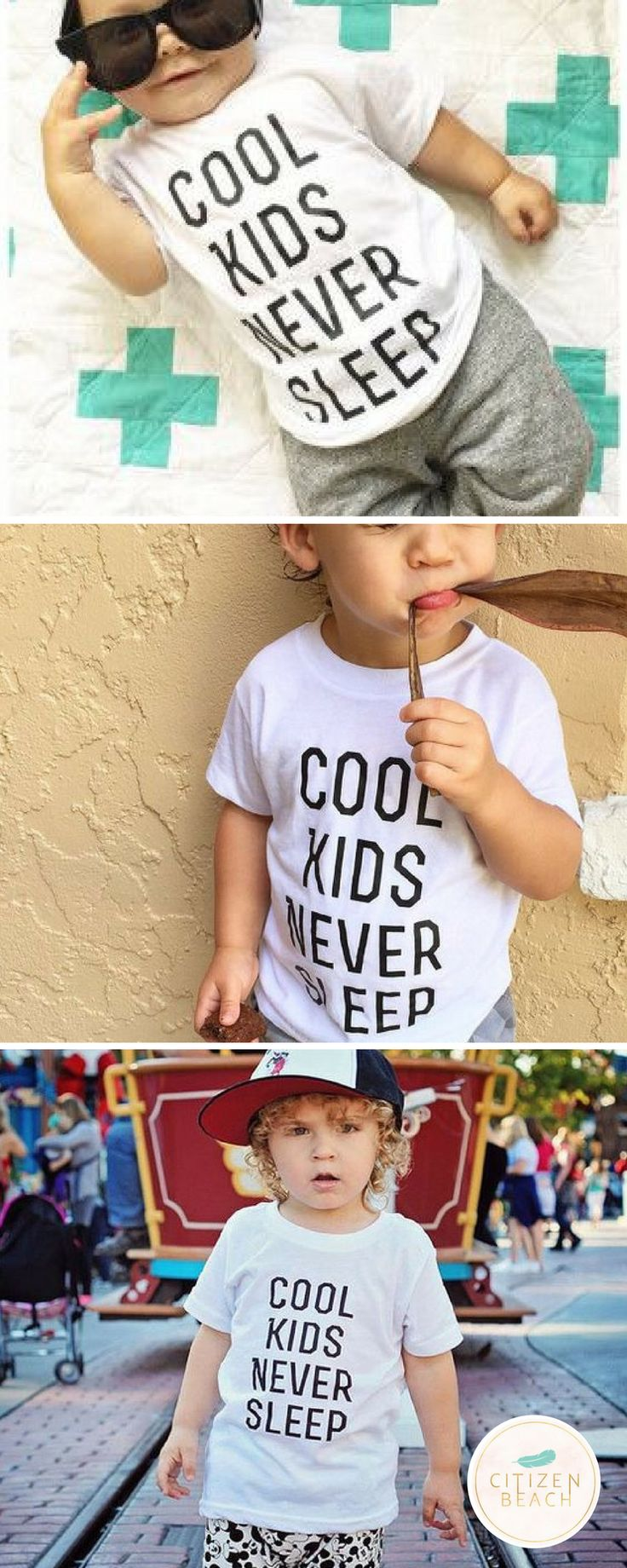 Great unisex tshirt that works for both little boys or girls. Explore kids fashion with funny sayings at  http://www.citizenbeachapparel.com/product/cool-kids-never-sleep-kids-graphic-tee/ | Style | Kids Fashion