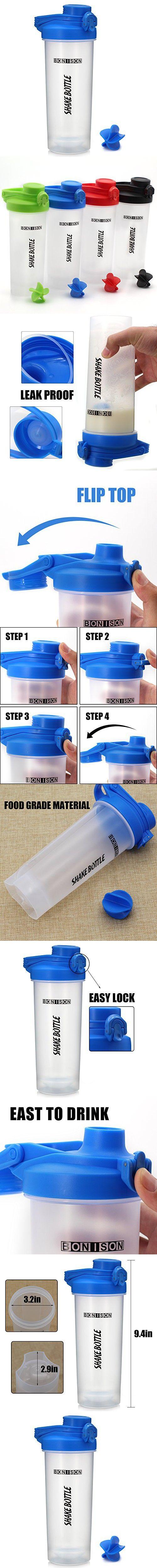Hoople 24 OZ Mixers Protein Mixing Bottle Smoothies Shaker Mix Powders Shaker Bottle BPA and Phthalate-free Plastic Leak Proof Bottle Loop Top Twist Cap Shaker (24oz-blue)