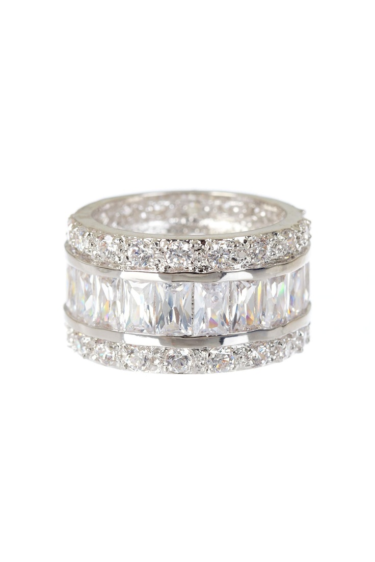 Cocktail Hour: Statement Rings Baguette & Round Cut CZ Eternity Band $179.00