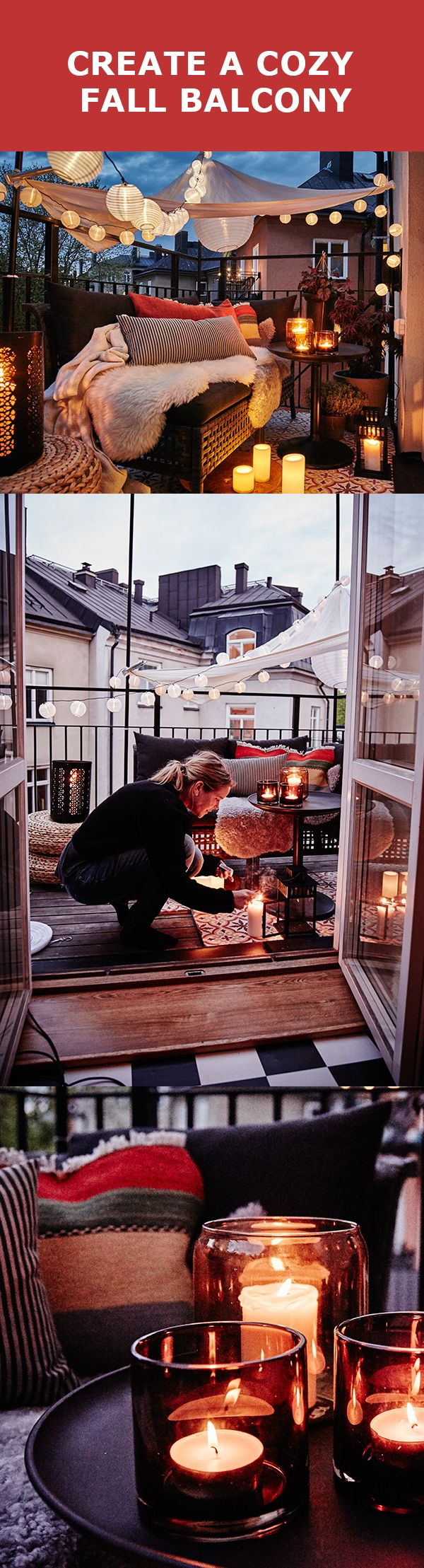 Turn your outdoor summer oasis into a cozy fall nook with just a few simple tweaks. Our GURLI throw is a great warm up, but here are a few other ways to fall-ify your balcony.