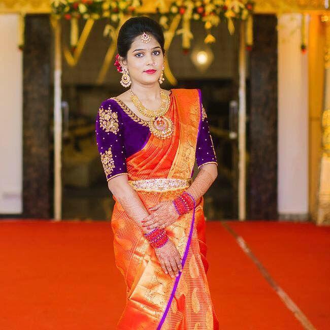 Purple blouse Orange saree design