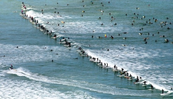 2009 Guinness World Record Most Surfers on a Wave. (Photo: Argus - Jim McLagan) Taken at Muizenberg Beach - home of surfing in Cape Town