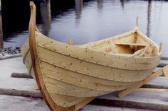 "A small boat, build in the viking clinker method, with overlapping streaks, sealed with hemp strings, soaked in birch pitch, and peen rivited. The hull is constructed first, and the frame fitted in afterwards, which gives this type of vessel a unique flexibility. In comparison ""modern"" ship building methodes are primitive!"