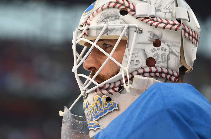 ST LOUIS, MO - JANUARY 02: Carter Hutton #40 of the St. Louis Blues warms up prior to the 2017 Bridgestone NHL Winter Classic against the Chicago Blackhawks at Busch Stadium on January 2, 2017 in St Louis, Missouri. (Photo by Brian Babineau/NHLI via Getty Images)