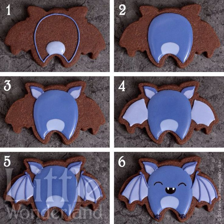 Halloween cutout cookie Bat Hand decorated royal icing Decorando galletas