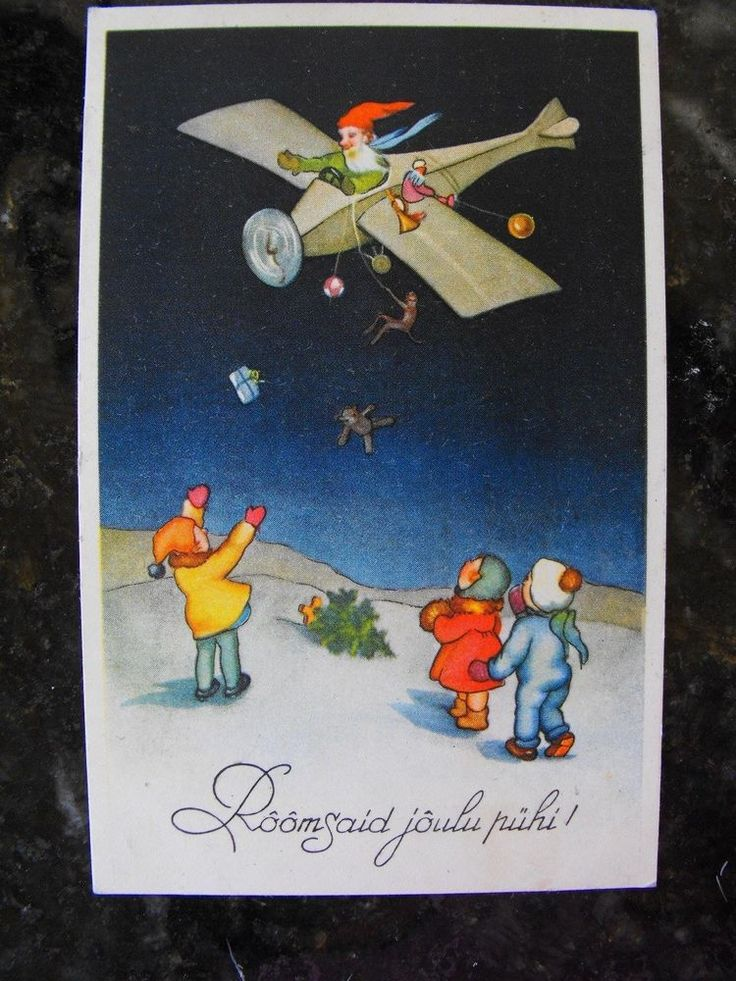 SANTA CLAUS POSTCARD 1939 ESTONIAN GNOME SANTA AIRPLANE