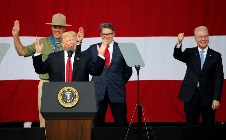 """Trump's Boy Scouts speech broke with 80 years of presidential tradition. Most presidents have spoken to the Scouts about unity or citizenship or coming together. Trump talked about the crowd size, """"fake news"""" and Hillary Clinton."""