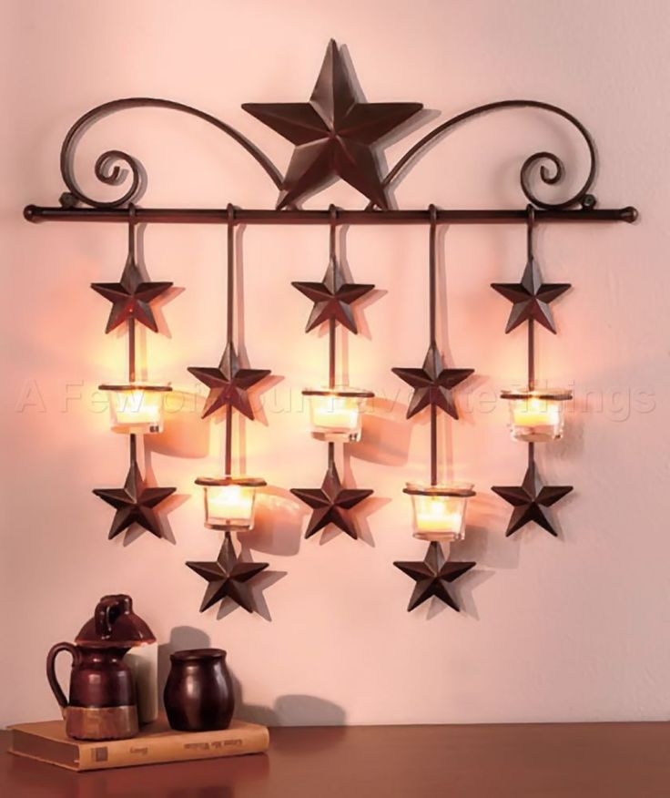 Rustic Primitive Stars Candle Wall Sconce Country Metal Decor Home Art Western