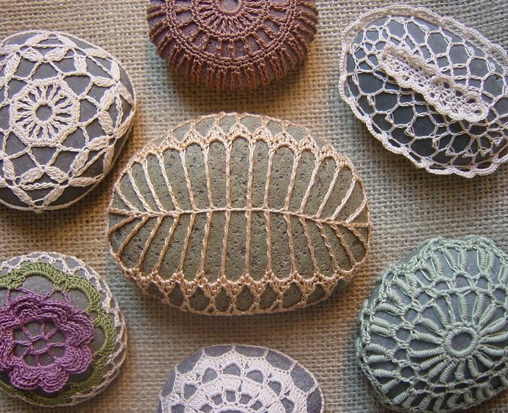 Crocheted Lace Stone, Golden Beige, Fern Pattern, Green Speckled Stone. $49.00, via Etsy.