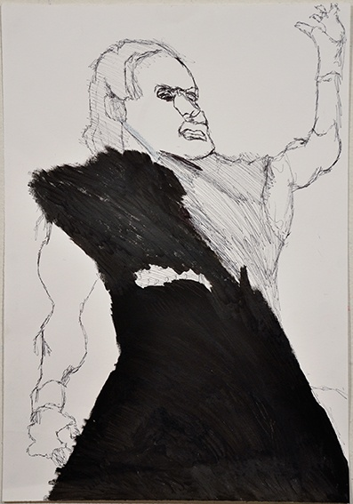 Adrian Lazzaro, Not titled (the undertaker) 2009 felt-tip pen and texta on paper 50 x 25cm © Artist  Represented by Arts Project Australia