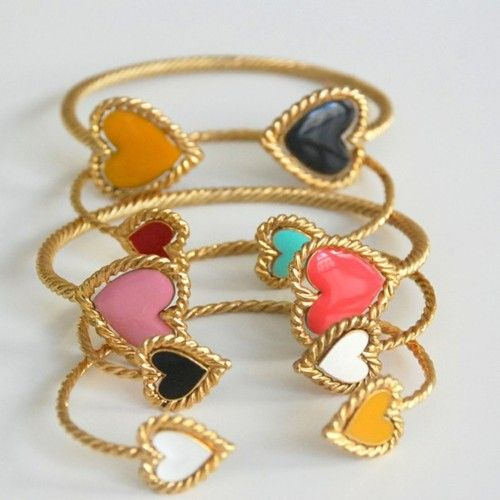 heart: Bling, Ashley Duncan, Fashion, Clothing, Heart Bracelets, Heart Bangles, Accessories, Cute Food Jewelry, Accessorizing