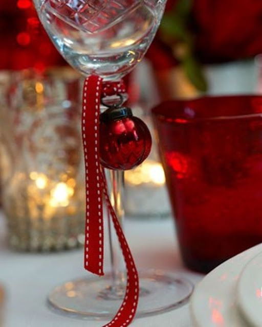 Christmas Decorations With Wine Glasses: Small Ornaments And Ribbon On Each Wine Glass: Christmas