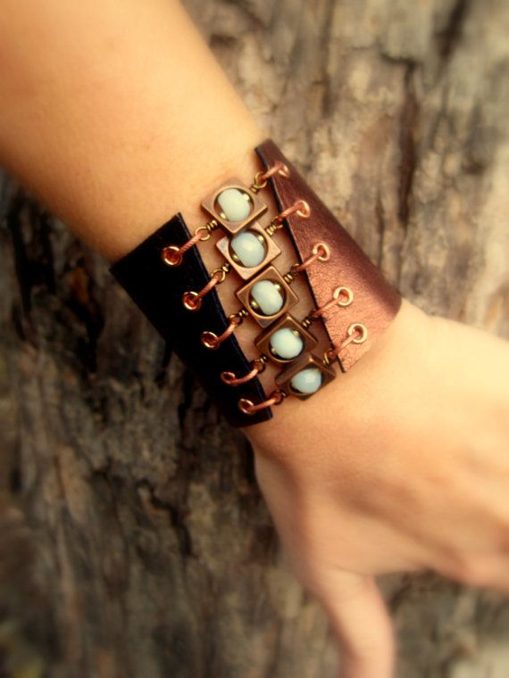 Leather Cuff Bracelet with Amazonite Gems