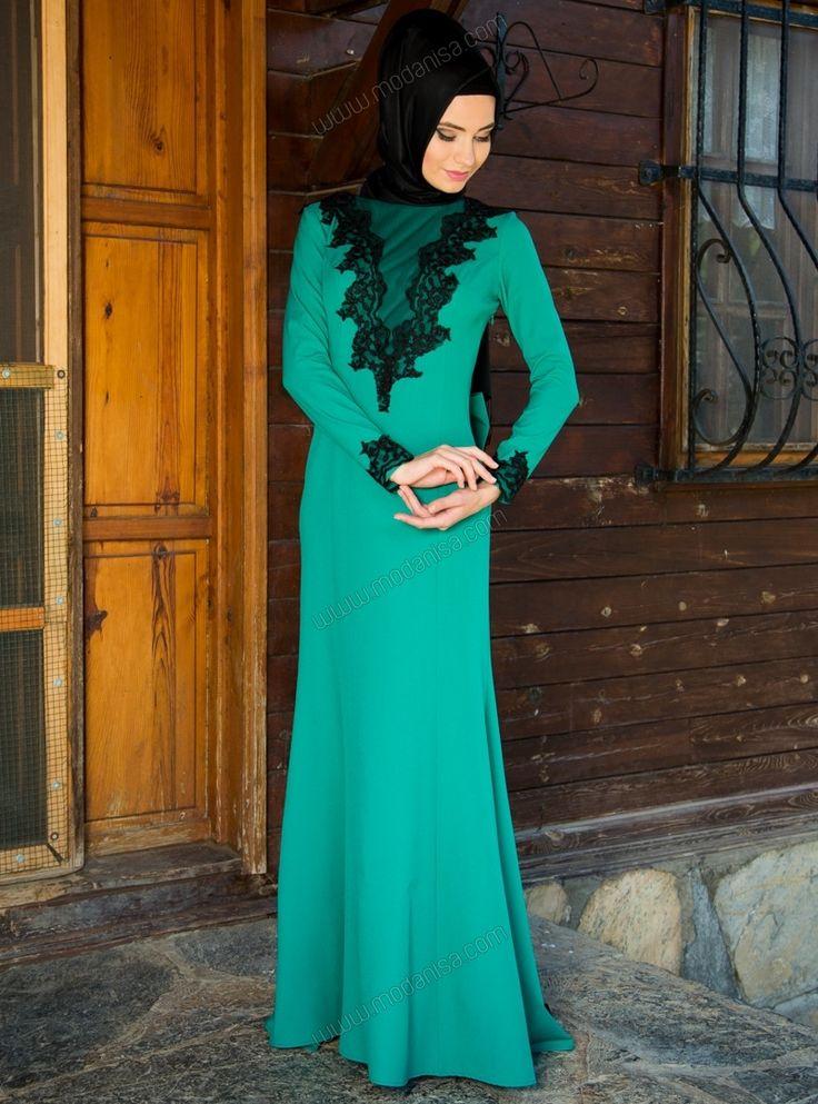 Dantel Detaylı Abiye Elbise 4119 - Yeşil - Modaysa