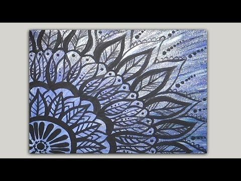 Quick & Easy Painted Mandala Doodle - Acrylic Painting on Canvas https://www.youtube.com/StudioSilverCreek https://www.facebook.com/StudioSilverCreek