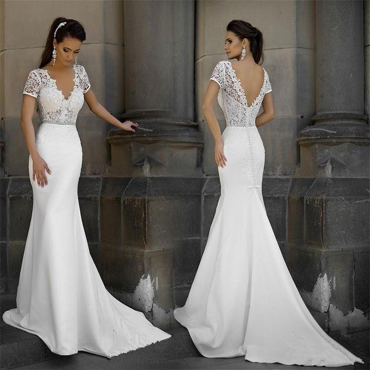 robe de mariee White Lace Mermaid Wedding Dresses 2017 V-neck Short Sleeves Backless Cheap Beach Wedding Gowns vestido de noiva