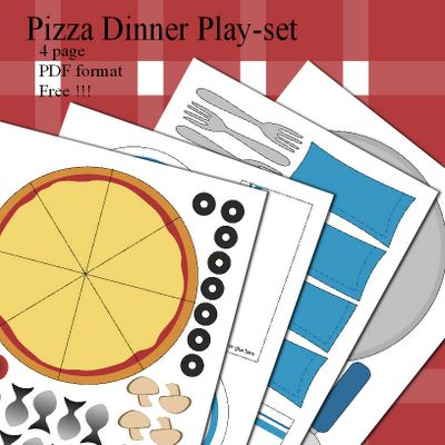 Free printable pretend dinner set. Includes plates, cutlery, napkins, pizza crust and all the toppings.