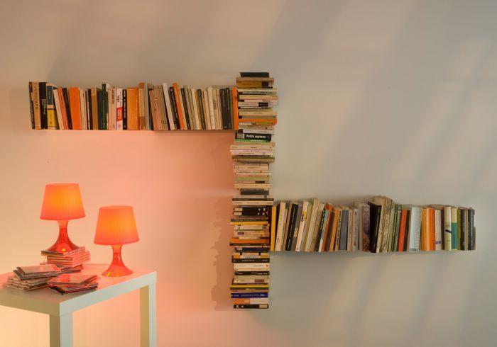 """Asymmetrical bookshelf """"T"""" RIGHT #bookshelf #bookshelves #shelves #productdesign #design #floatingshelves #interiordesign #minimalist #contemporary"""