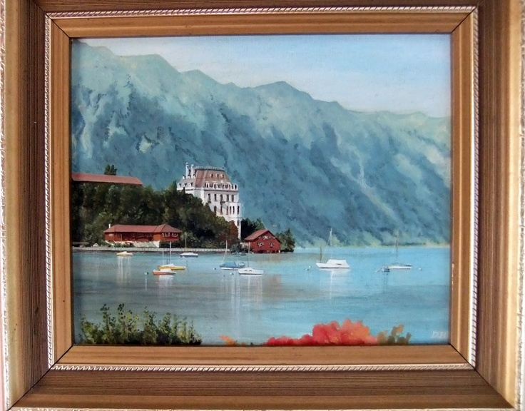 Iseltwald on Lake Brienz by Diane B. nee Hill - an oil painting copied from a photograph that I took on an Interlaken holiday. (see previous pin)