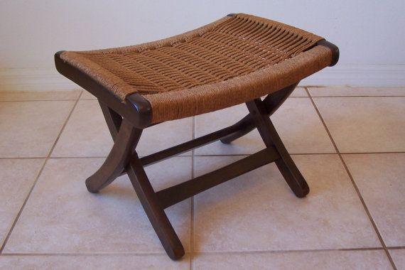 Vintage Danish Modern Hans Wegner Style Rope Seat Foot