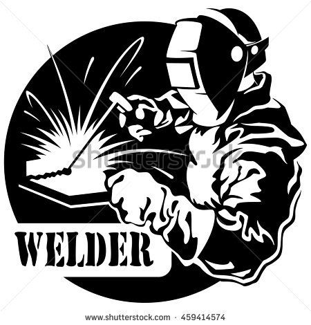 Welder in the mask connects electric welding metal, vector illustration