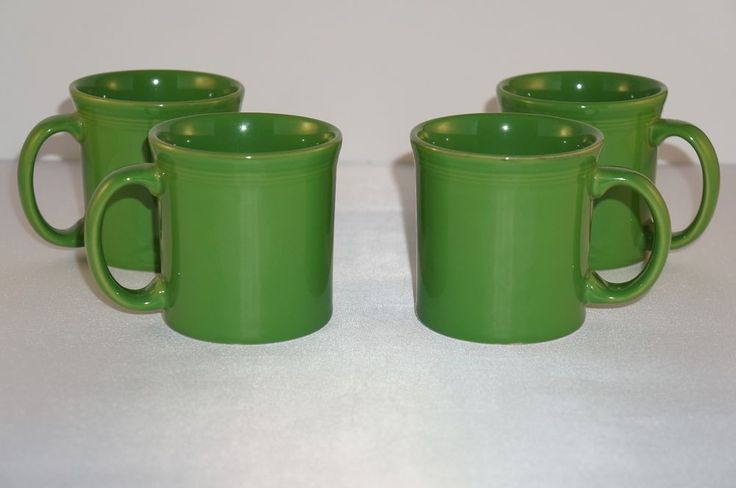 Fiesta Ware Shamrock Green Coffee Cups C Handle Homer Laughlin Set of 4  | eBay