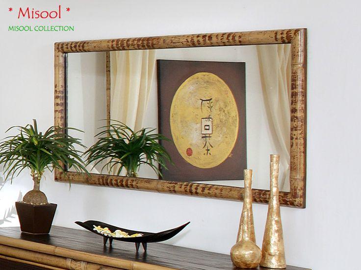 Bambus Schlafzimmer Spiegel Mit Echter Tigerbambus Umrandung Un Crushed  Bamboo.