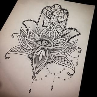 The sketch I did for the hamsa hand the other day #thetattooshop #tattoo…