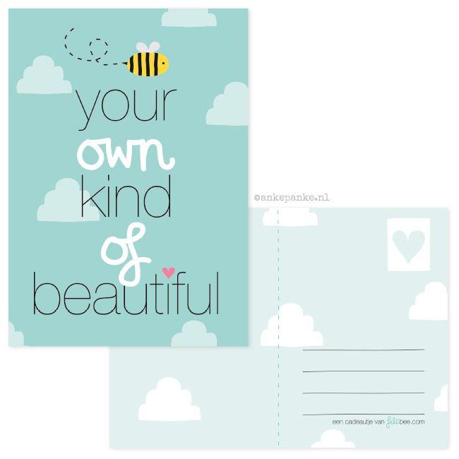 Promotional postcard design for Felt Bee (felt accessories webshop) by http://ankepanke.nl