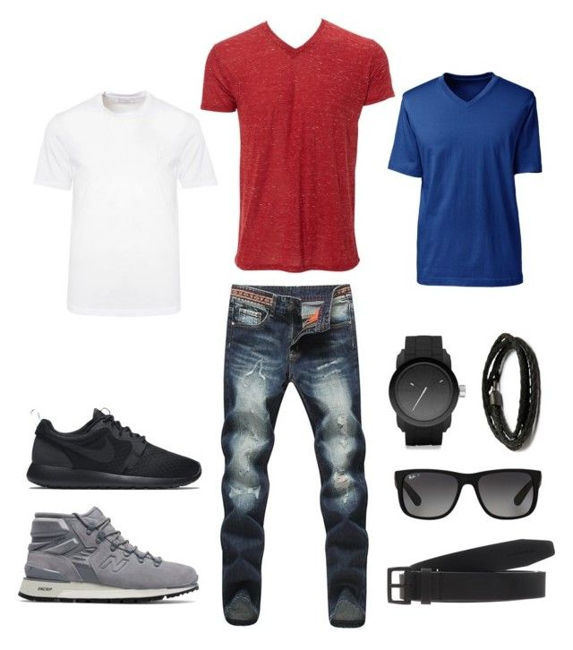 """Indra's 3rd look"" by arini-lioni on Polyvore featuring New Balance, Diesel, MIANSAI, NIKE, Ray-Ban, Dsquared2, Versace, Lands' End, men's fashion and menswear"