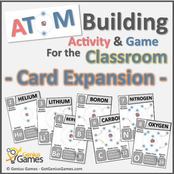 These new cards are and expansion to the original Atom Building Activity & Game – Basic Chemistry Printable Activity. These new cards give my students a clear goal for building an atom. They also give the student visual aids that help explain some of the major properties of the atom, including the Octet rule, valence electrons and especially charges.