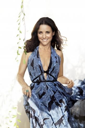 julia Louis Dreyfus wearing blue silk gown
