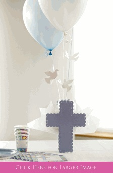 Baptism Table Decorations for Boys, Cross Balloon Centerpieces. Exclusive to settocelebrate.com!