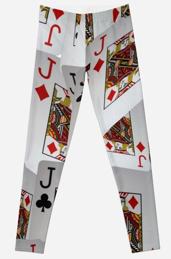 #Jacks #Poker #Cards #Leggings #Ladies #Game #Sports #Pants #Fashion,  Poker, Jacks, Playing Cards In A Layered Pattern by A-Work-Of-Art