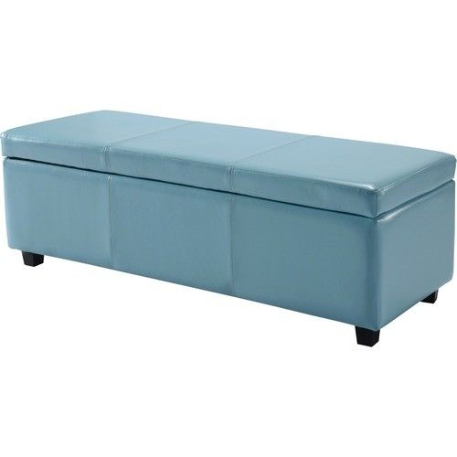 Simpli Home - Avalon Large Rectangular Blue Faux Leather Storage Ottoman Bench - Larger Front