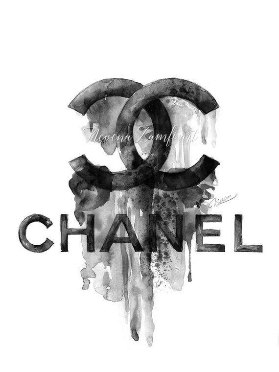 Chanel-Logo-Poster, Chanel Logo tropft Farbe, große Coco Chanel drucken, Chanel Aquarell, Chanel Wandkunst, Chanel Home Dekor Fashion print