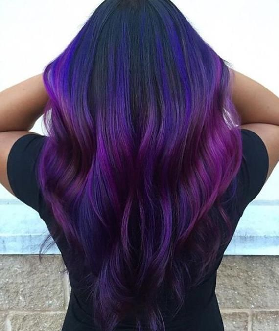 Purple Ombre Hair Human Hair Extensions Clip In Extensions Etsy Purple Ombre Hair Dark Purple Hair Color Dark Purple Hair